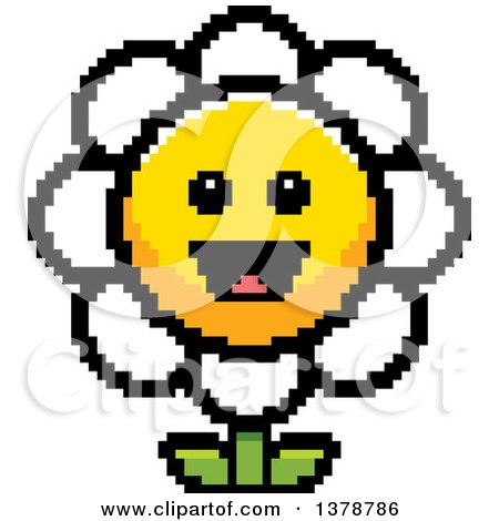 Clipart of a Happy Daisy Flower Character in 8 Bit Style - Royalty Free Vector Illustration by Cory Thoman