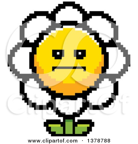 Clipart of a Serious Daisy Flower Character in 8 Bit Style - Royalty Free Vector Illustration by Cory Thoman