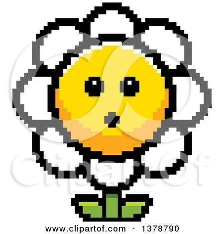 Clipart of a Surprised Daisy Flower Character in 8 Bit Style - Royalty Free Vector Illustration by Cory Thoman