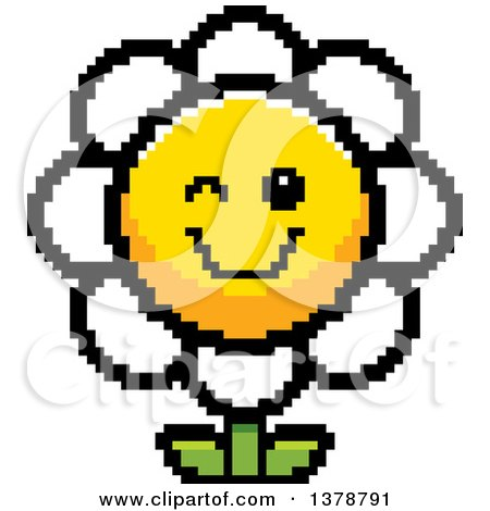 Clipart of a Winking Daisy Flower Character in 8 Bit Style - Royalty Free Vector Illustration by Cory Thoman