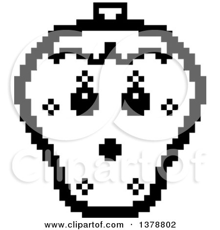 Clipart of a Black and White Surprised Strawberry Character in 8 Bit Style - Royalty Free Vector Illustration by Cory Thoman