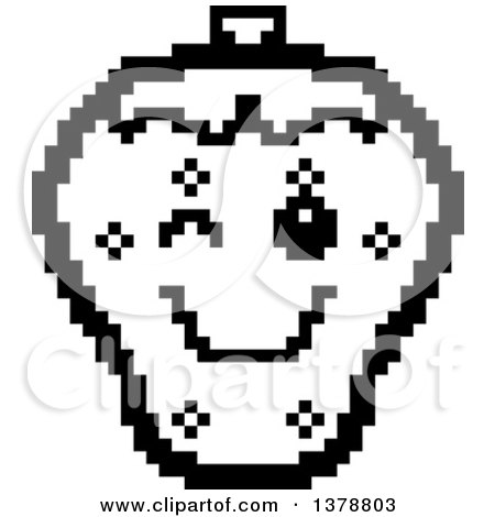 Clipart of a Black and White Winking Strawberry Character in 8 Bit Style - Royalty Free Vector Illustration by Cory Thoman