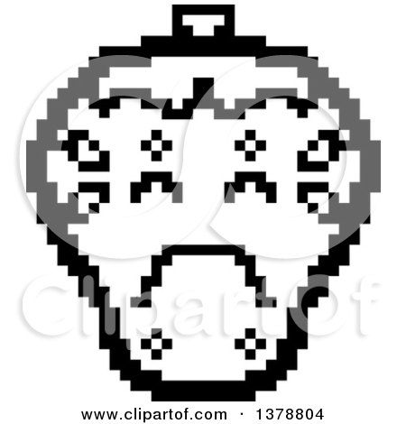 Clipart of a Black and White Crying Strawberry Character in 8 Bit Style - Royalty Free Vector Illustration by Cory Thoman