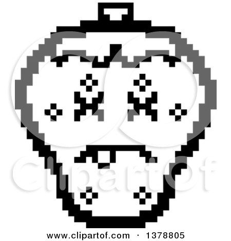 Clipart of a Black and White Dead Strawberry Character in 8 Bit Style - Royalty Free Vector Illustration by Cory Thoman