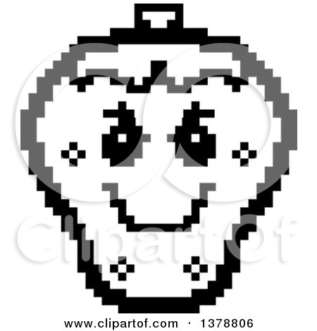 Clipart of a Black and White Grinning Evil Strawberry Character in 8 Bit Style - Royalty Free Vector Illustration by Cory Thoman