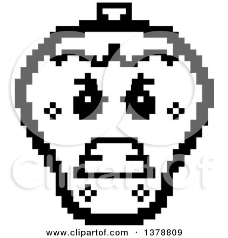 Clipart of a Black and White Mad Strawberry Character in 8 Bit Style - Royalty Free Vector Illustration by Cory Thoman