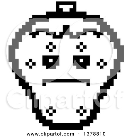 Clipart of a Black and White Serious Strawberry Character in 8 Bit Style - Royalty Free Vector Illustration by Cory Thoman
