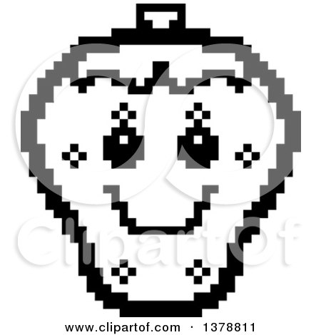 Clipart of a Black and White Happy Strawberry Character in 8 Bit Style - Royalty Free Vector Illustration by Cory Thoman