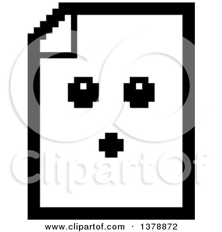 Clipart of a Black and White Surprised Note Document Character in 8 Bit Style - Royalty Free Vector Illustration by Cory Thoman