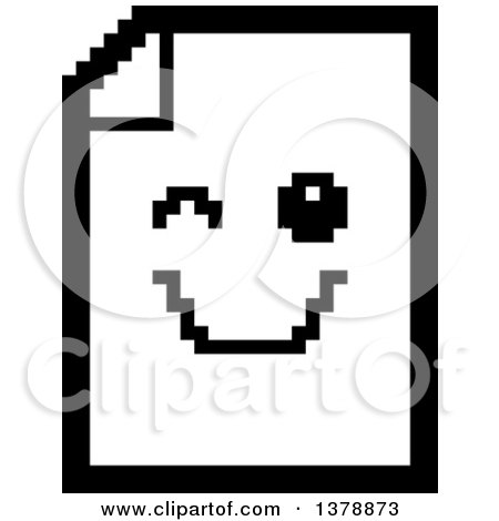 Clipart of a Black and White Winking Note Document Character in 8 Bit Style - Royalty Free Vector Illustration by Cory Thoman