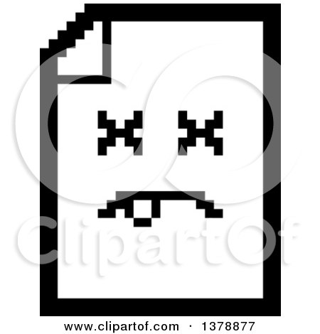 Clipart of a Black and White Dead Note Document Character in 8 Bit Style - Royalty Free Vector Illustration by Cory Thoman