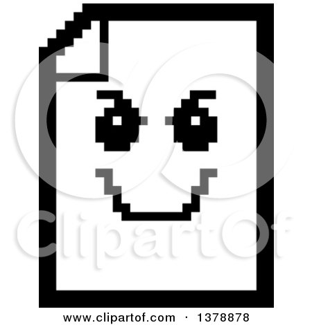 Clipart of a Black and White Grinning Evil Note Document Character in 8 Bit Style - Royalty Free Vector Illustration by Cory Thoman