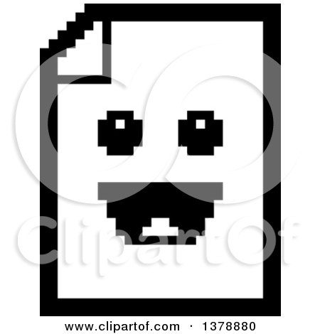 Clipart of a Black and White Happy Note Document Character in 8 Bit Style - Royalty Free Vector Illustration by Cory Thoman