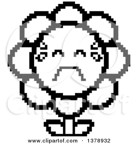 Clipart of a Black and White Crying Daisy Flower Character in 8 Bit Style - Royalty Free Vector Illustration by Cory Thoman