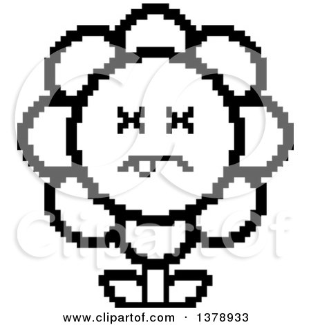 Clipart of a Black and White Dead Daisy Flower Character in 8 Bit Style - Royalty Free Vector Illustration by Cory Thoman