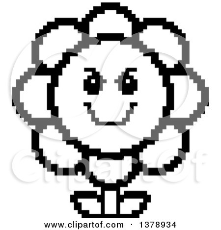 Clipart of a Black and White Grinning Evil Daisy Flower Character in 8 Bit Style - Royalty Free Vector Illustration by Cory Thoman