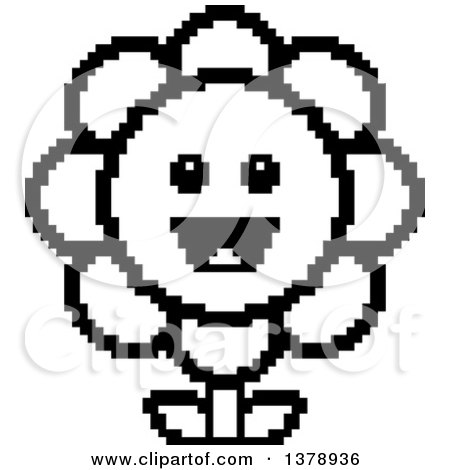 Clipart of a Black and White Happy Daisy Flower Character in 8 Bit Style - Royalty Free Vector Illustration by Cory Thoman