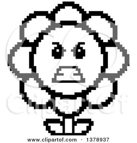 Clipart of a Black and White Mad Daisy Flower Character in 8 Bit Style - Royalty Free Vector Illustration by Cory Thoman