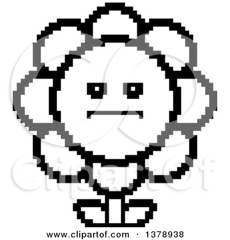 Clipart of a Black and White Serious Daisy Flower Character in 8 Bit Style - Royalty Free Vector Illustration by Cory Thoman