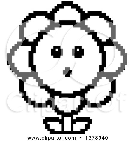 Clipart of a Black and White Surprised Daisy Flower Character in 8 Bit Style - Royalty Free Vector Illustration by Cory Thoman