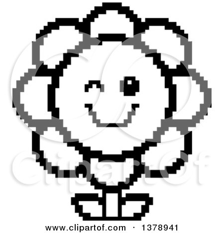 Clipart of a Black and White Winking Daisy Flower Character in 8 Bit Style - Royalty Free Vector Illustration by Cory Thoman