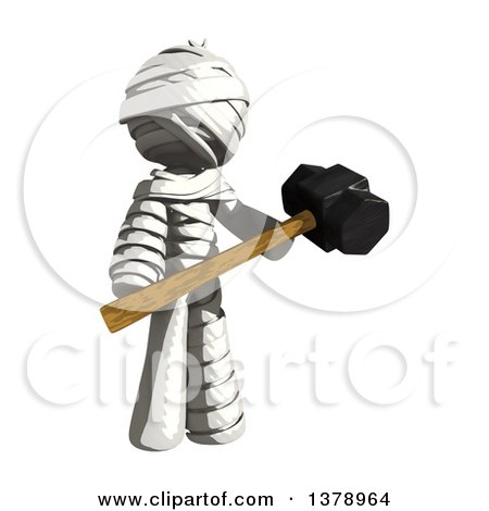 Clipart of a Fully Bandaged Injury Victim or Mummy Holding a Sledgehammer - Royalty Free Illustration by Leo Blanchette