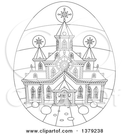 Clipart of a Black and White Church on an Easter Egg - Royalty Free Vector Illustration by Alex Bannykh