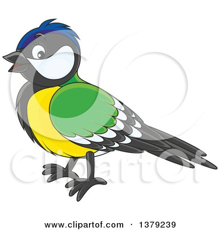 Clipart of a Cute Tomtit Bird in Profile - Royalty Free Vector Illustration by Alex Bannykh