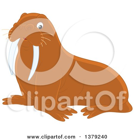 Clipart of a Brown Walrus - Royalty Free Vector Illustration by Alex Bannykh