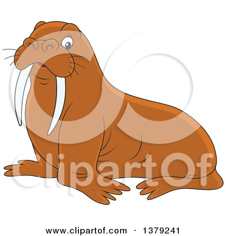 Clipart of a Cute Brown Walrus - Royalty Free Vector Illustration by Alex Bannykh
