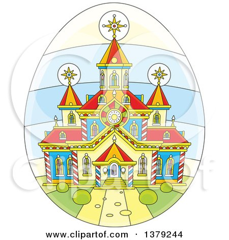 Clipart of a Church on an Easter Egg - Royalty Free Vector Illustration by Alex Bannykh