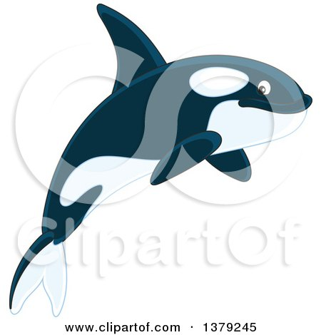 Clipart of a Cute Jumping Orca Killer Whale - Royalty Free Vector Illustration by Alex Bannykh