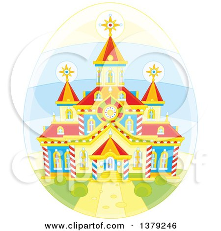 Clipart of a Church on a Deorated Easter Egg - Royalty Free Vector Illustration by Alex Bannykh