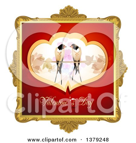 Clipart of a Gold Ornate Frame with Love Birds and Valentines Day Text - Royalty Free Vector Illustration by merlinul