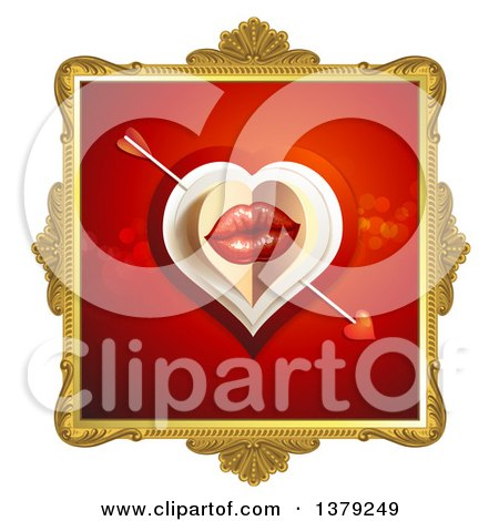 Clipart of a Gold Ornate Frame with Lips, Cupids Arrow and a Heart on Red - Royalty Free Vector Illustration by merlinul