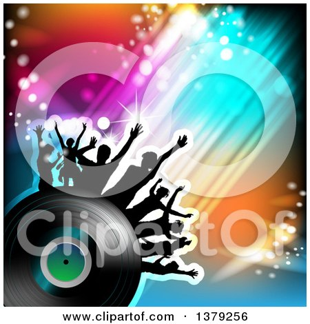 Clipart of a Background of Silhouetted Dancers on a Vinyl Record with Swooshes and Lights - Royalty Free Vector Illustration by merlinul