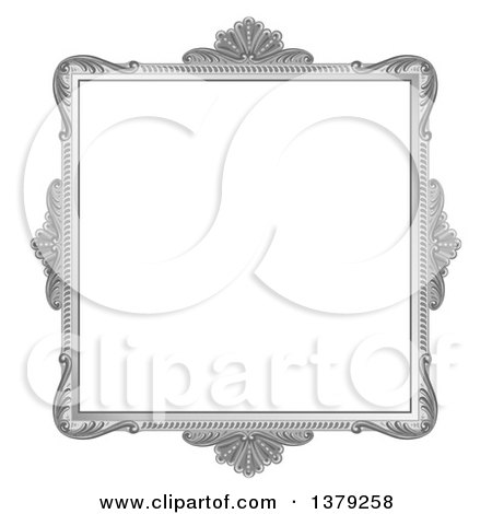 Clipart of a Vintage Ornate Grayscale Picture Frame - Royalty Free Vector Illustration by merlinul