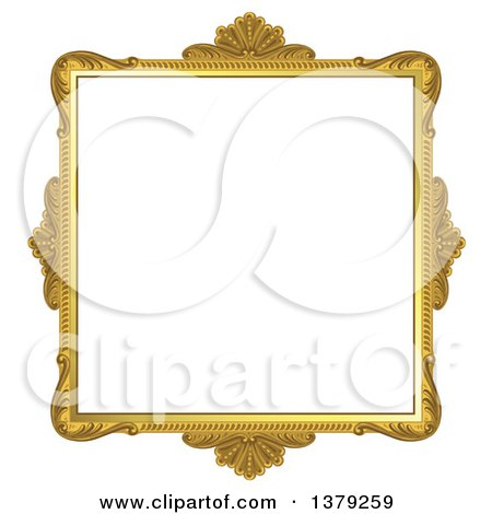 Clipart Of A Vintage Ornate Gold Picture Frame Royalty Free Vector Illustration