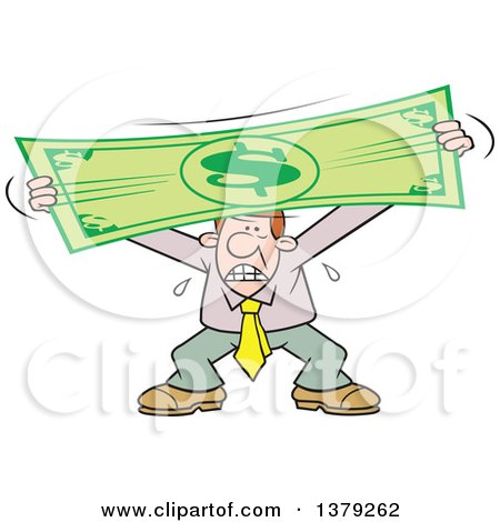 Cartoon Clipart of a Stressed Caucasian Business Man Stretching the Dollar - Royalty Free Vector Illustration by Johnny Sajem