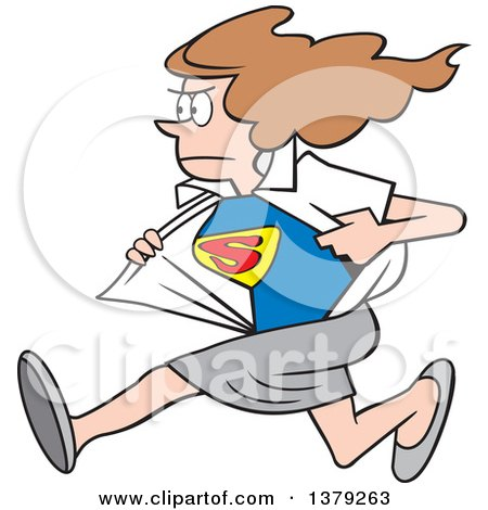 Cartoon Clipart of a White Super Hero Woman Running and Changing from Her Typical Outfit to Her Suit - Royalty Free Vector Illustration by Johnny Sajem