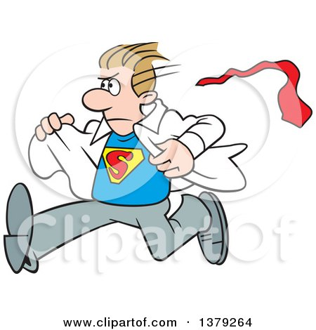 Cartoon Clipart of a White Super Hero Man Running and Changing from His Typical Outfit to His Suit - Royalty Free Vector Illustration by Johnny Sajem