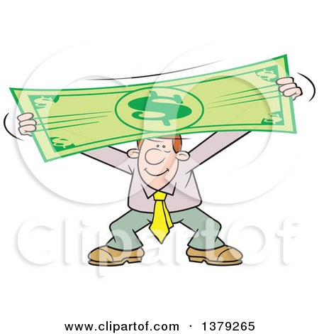 Cartoon Clipart of a Pleased Caucasian Business Man Stretching the Dollar - Royalty Free Vector Illustration by Johnny Sajem