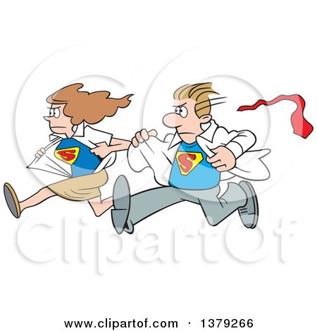 Cartoon Clipart of a White Super Hero Couple Running to the Rescue and Changing from Typical Outfits to Their Suits - Royalty Free Vector Illustration by Johnny Sajem