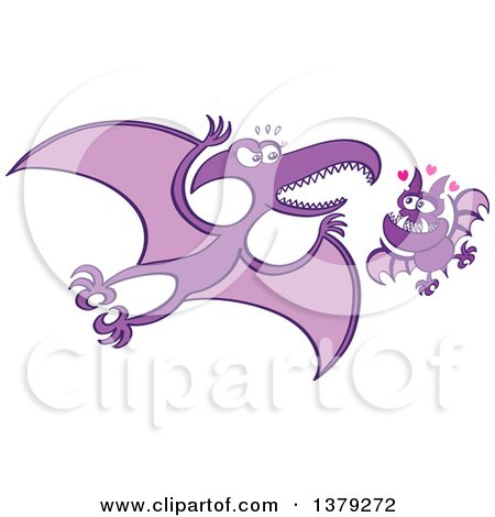Clipart of a Valentine Bat in Love with a Pterodactylus - Royalty Free Vector Illustration by Zooco