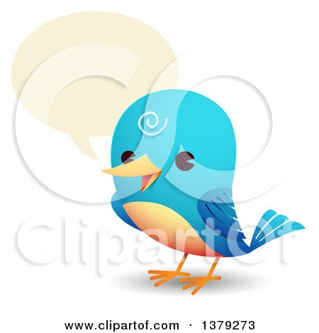 Clipart of a Happy Talking Bluebird - Royalty Free Vector Illustration by Qiun