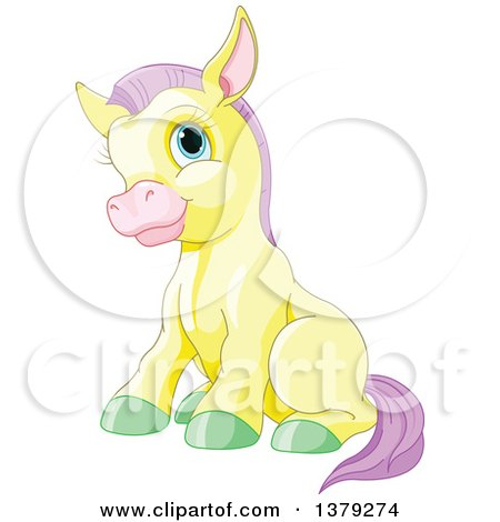 Clipart of a Cute Sitting Yellow Pony Horse with Purple Hair and Green Hooves - Royalty Free Vector Illustration by Pushkin
