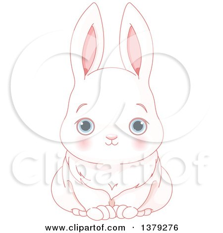 Clipart of a Cute Blue Eyed White Bunny Rabbit - Royalty Free Vector Illustration by Pushkin