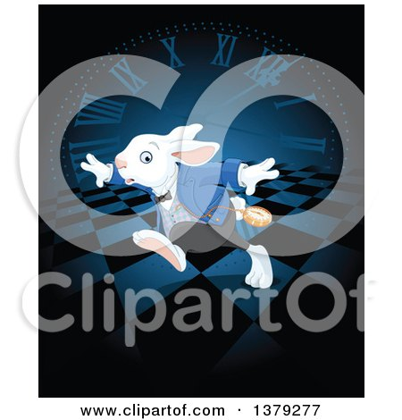 Clipart of a Late White Rabbit of Wonderland Running over a Clock and Checkers - Royalty Free Vector Illustration by Pushkin