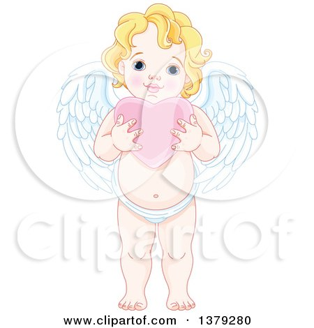 Clipart of a Blond Caucasian Baby Cupid Holding a Pink Valentine Love Heart - Royalty Free Vector Illustration by Pushkin