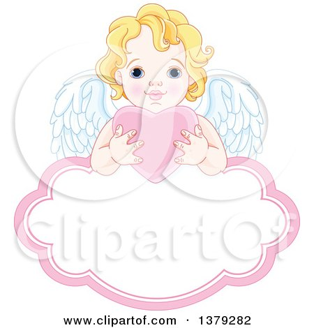 Clipart Of A Blond Caucasian Baby Cupid Holding A Pink Valentine Love Heart Over A Frame Royalty Free Vector Illustration